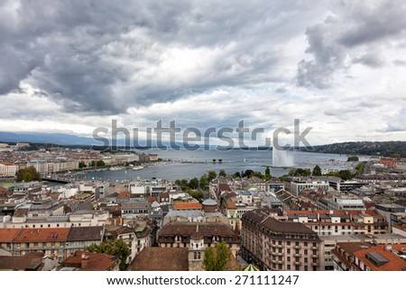 Panoramic view of city of Geneva, the Leman Lake and the Water Jet, in Switzerland, Europe, aerial view - stock photo