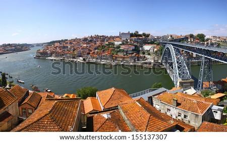 Panoramic view of City of Porto, Ponte Luis I bridge and Douro river, Portugal - stock photo