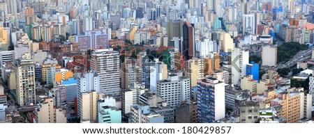 Panoramic view of city of Sao Paulo Brazil - stock photo