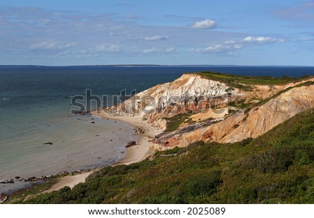 Panoramic view of clay cliffs on the Atlantic Ocean. - stock photo