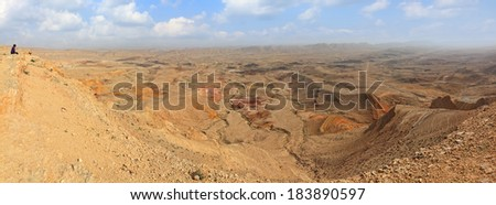 Panoramic view of color sand stone valley of Negev desert - view from above of a mountain ridge. Nature geological reserve in the south of Israel  - stock photo