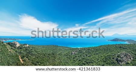 panoramic view of Costa Smeralda coastline in Sardinia - stock photo