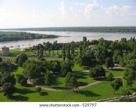 Panoramic view of Danube and Sava firth in Belgrade - stock photo