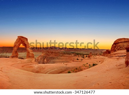 Panoramic view of Delicate Arch in Arches National Park, Utah, U.S.A. - stock photo
