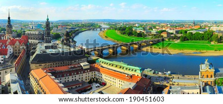 Panoramic view of Dresden from Frauenkirche church. Germany - stock photo