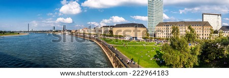Panoramic view of Dusseldorf skyline. Germany - stock photo