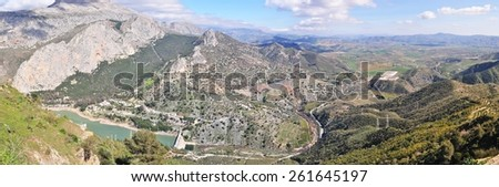 panoramic view of El Chorro point,Spain - stock photo