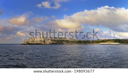 Panoramic view of el morro fortress in havana bay entrance at sunset  - stock photo