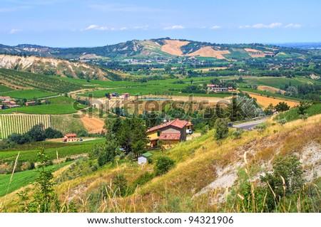 Panoramic view of Emilia-Romagna. Italy. - stock photo