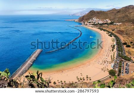 Panoramic view of famous beach Playa de las Teresitas,Tenerife, Spain - stock photo