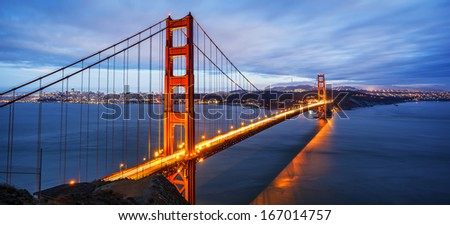 panoramic view of famous Golden Gate Bridge in San Francisco - stock photo