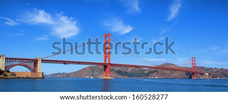 panoramic view of famous Golden Gate bridge, San Francisco, USA - stock photo