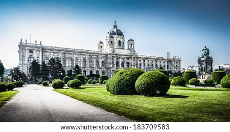 Panoramic view of famous Kunsthistorisches Museum (Museum of Art History) with park and sculptures in Vienna, Austria - stock photo