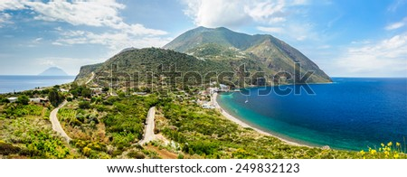 Panoramic view of Filicudi two shores, Aeolian Islands, Sicily, Italy. - stock photo