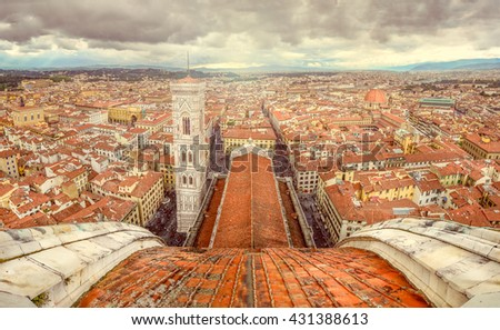 Panoramic view of Florence from cupola of Duomo cathedral, Italy - stock photo