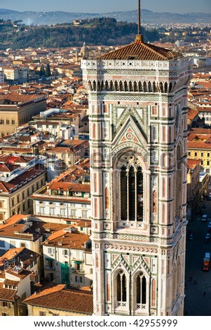 Panoramic view of Florence from the Duomo. - stock photo