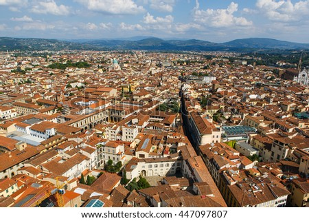 Panoramic view of Florence, Tuscany, Italy. Florence is a popular tourist destination of Europe. - stock photo