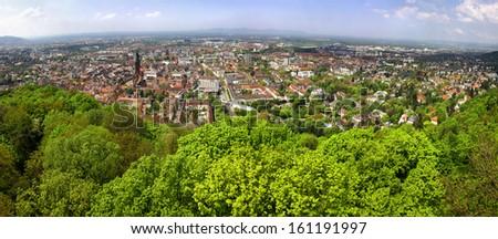Panoramic view of Freiburg im Breisgau city, Baden-Wurttemberg state, Germany - stock photo