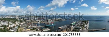 Panoramic view of Gdynia harbor, Poland. - stock photo