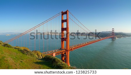 Panoramic view of Golden Gate bridge and San Francisco from Battery Spencer - stock photo