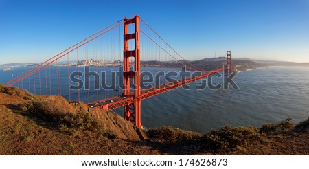 Panoramic View Of Golden Gate Bridge At Sunset, California, USA - stock photo