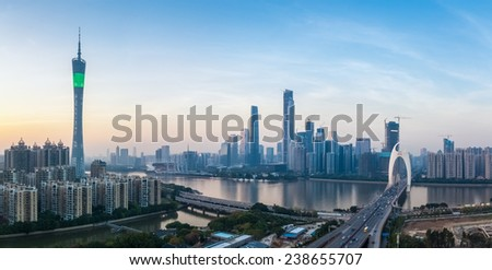 panoramic view of guangzhou skyline at dusk  - stock photo
