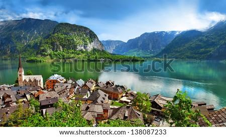 panoramic view of Hallstatt - beautiful Alpen village. Austria - stock photo