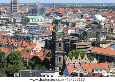 Panoramic view of Hanover, North Germany, with the Tower and Ruins of the Aegidien Church, mostly destroyed in Second World War. Seen from the Top of the New City Hall. - stock photo