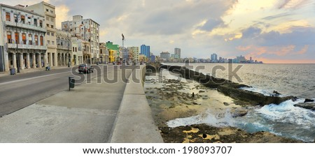 Panoramic view of Havana bay and city skyline along the waterfront (malecon) at sunset - stock photo