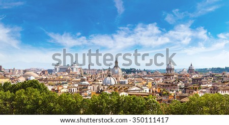 Panoramic view of historic center of Rome, Italy - stock photo