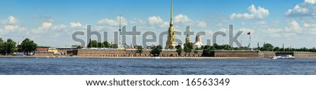 panoramic view of historic centre of Sankt-Petersburg - stock photo