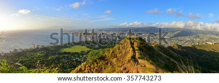 Panoramic view of Honolulu and Waikiki Beach area from summit of Diamond Head volcano in Oahu, Hawaii - stock photo