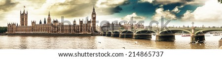 Panoramic view of Houses of Parliament and Westminster Bridge - London. - stock photo
