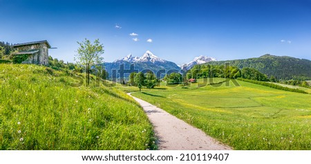 Panoramic view of idyllic summer landscape in the Alps - stock photo