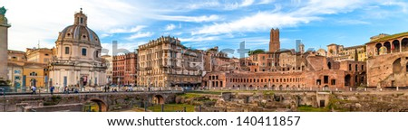 Panoramic view of Imperial Forums in Rome, Italy. - stock photo