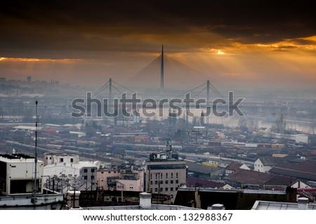 Panoramic view of industrial Belgrade during sunset in Belgrade, Serbia - stock photo