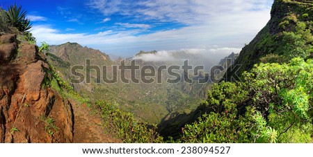 Panoramic view of island of Santo Antao, Cape Verde (Cabo Verde), Africa - stock photo