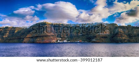 Panoramic view of Island Santorini, Greece. - stock photo