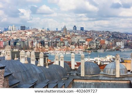 Panoramic view of Istanbul, Turkey. - stock photo