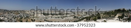 Panoramic view of Jerusalem's Old City from Olive Mountain - stock photo