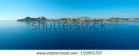 Panoramic  view of Kerkyra, Corfu from the sea - stock photo