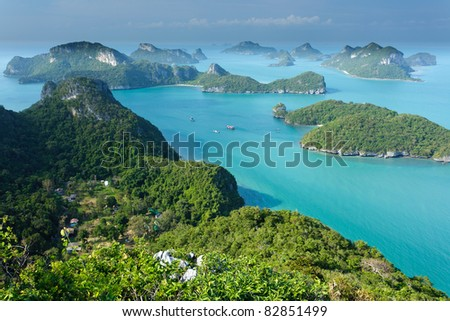 panoramic view of ko angthong tropical marine park in Thailand - stock photo