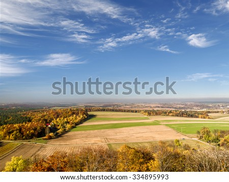 Panoramic view of Krakow-Czestochowa Upland as seen from the Ruins of medieval castle Smolen, located on the Trail of Eagles' Nest, Poland - stock photo