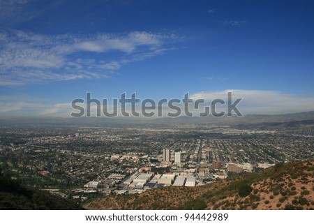 Panoramic view of L.A. from Burbank Peak, Hollywood Hills, CA - stock photo