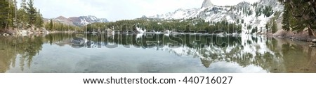 Panoramic View of Lake George from hiking trail, Mammoth Lakes, California - stock photo