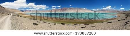 Panoramic view of Lake Tso Kar - Rupshu valley - Ladakh - Jammu and Kashmir India - stock photo