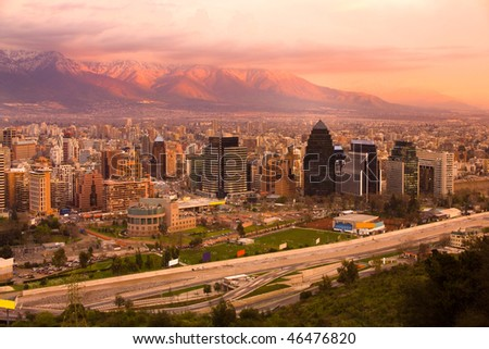 Panoramic view of Las Condes and Providencia districts, Santiago, Chile, South America - stock photo