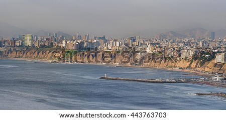 Panoramic view of Lima city at the afternoon. - stock photo