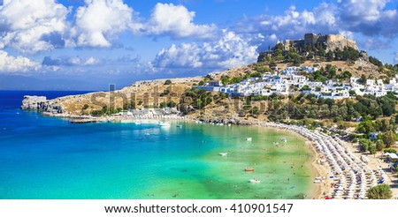 panoramic view of  Lindos bay, village and Acropolis, Rhodes, Greece - stock photo