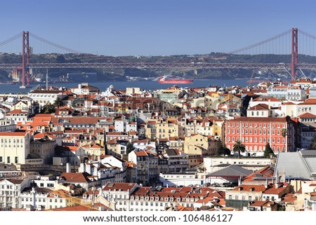 Panoramic view of Lisbon and the river Tagus, Portugal - stock photo